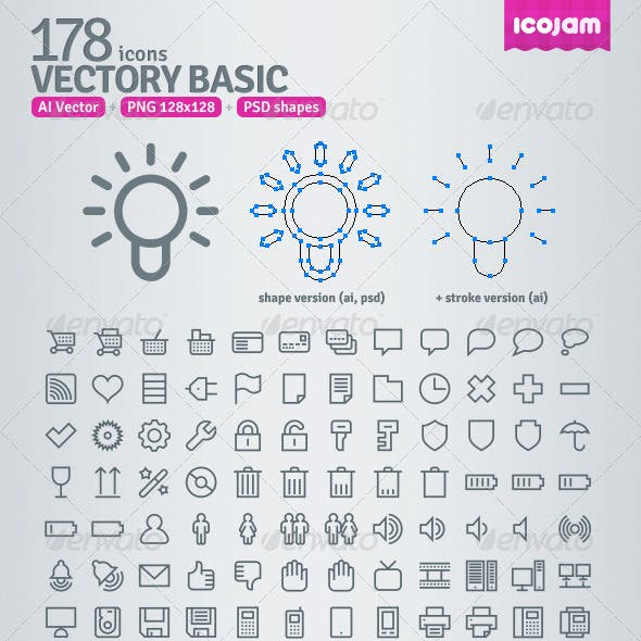 178 AI and PSD Basic Outline Icons