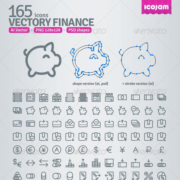 165 AI and PSD Finance Outline Icons