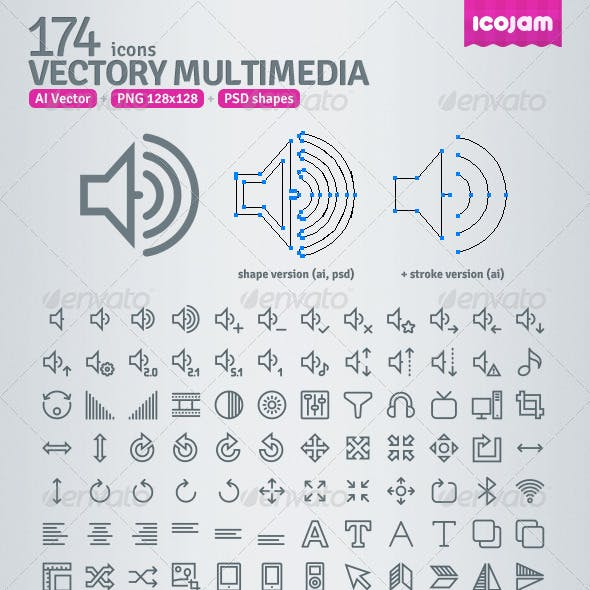 174 AI and PSD Multimedia Outline Icons