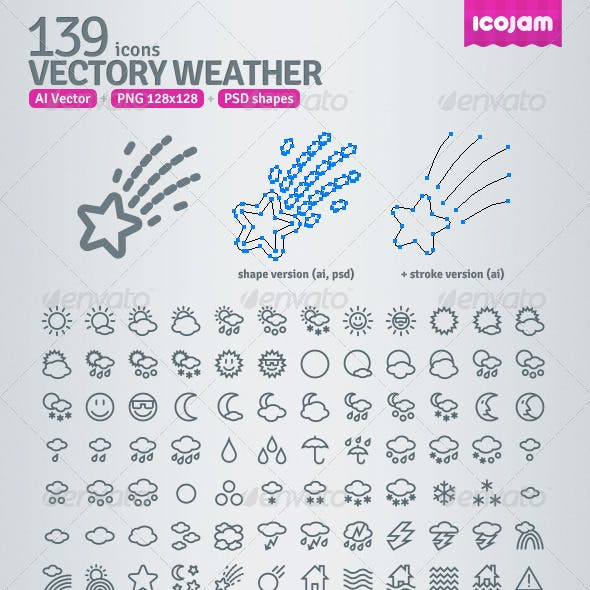 139 AI and PSD Weather Outline Icons