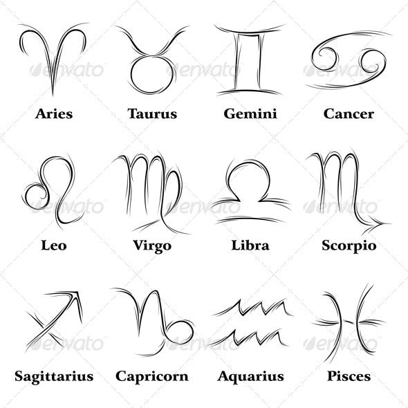 Zodiac Signs - Decorative Symbols Decorative