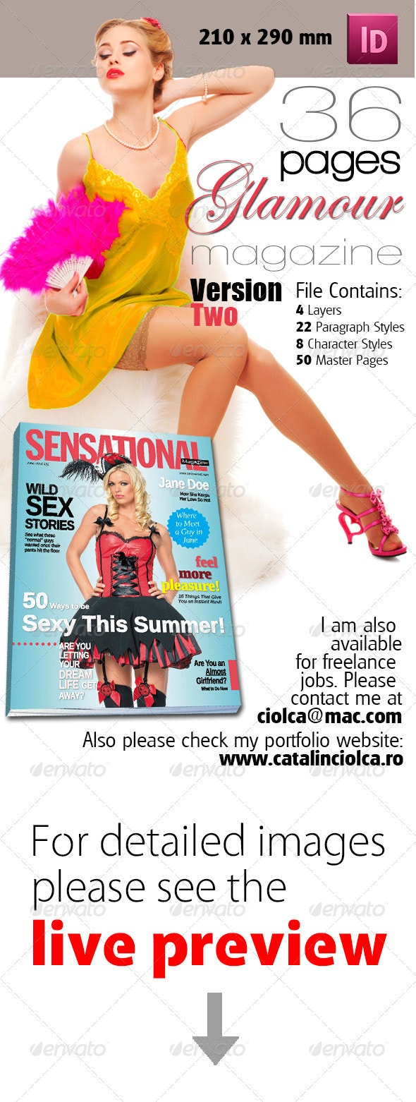 36 Pages Glamour Magazine Version Two - Magazines Print Templates