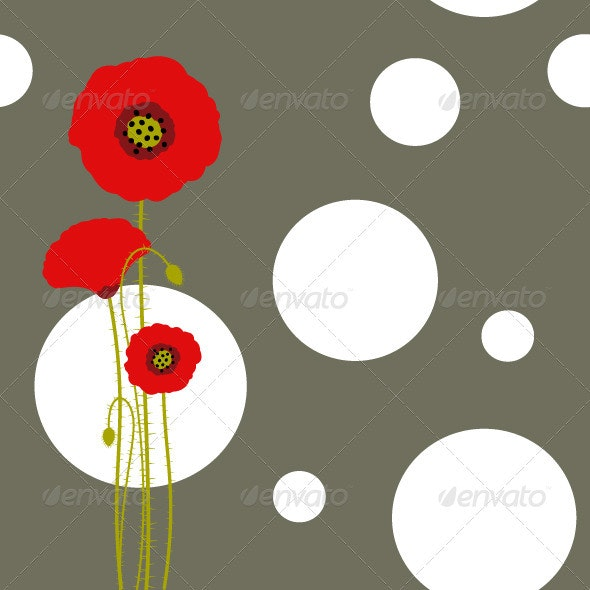 Red Poppy on Brown Background - Backgrounds Decorative