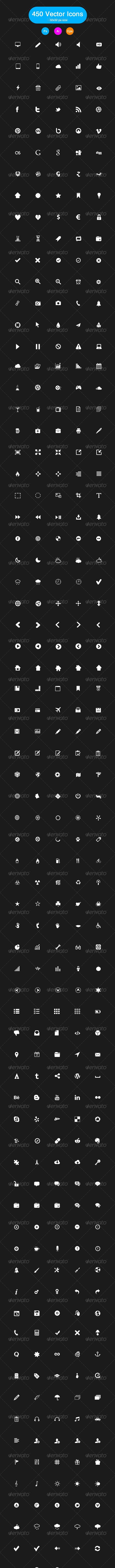 450 Black and White Vector Icons - Web Icons