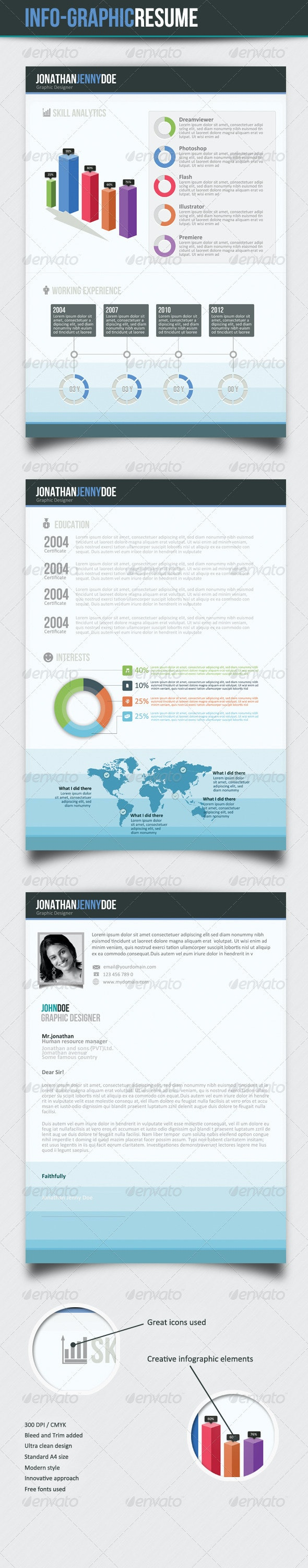 Infographic 3Page Resume - Resumes Stationery