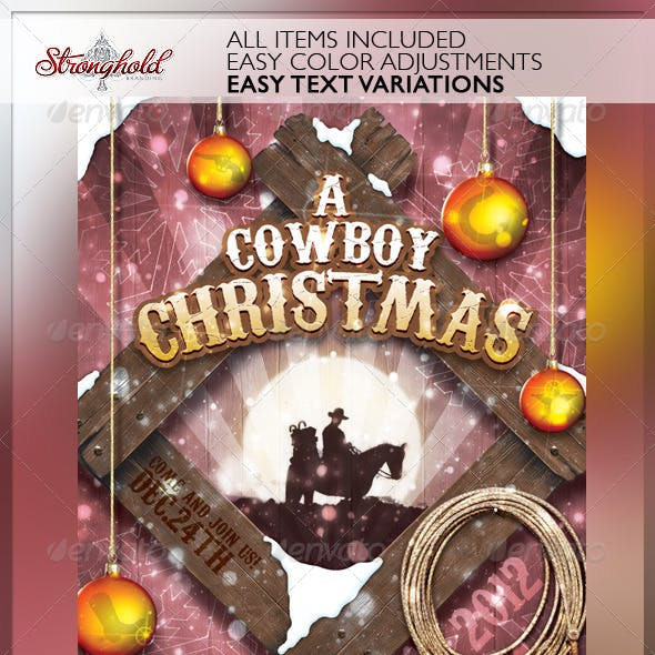 Vintage Cowboy Christmas Flyer Template