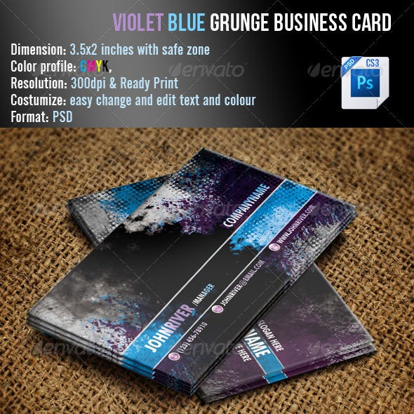 Violet Blue Grunge Business Card