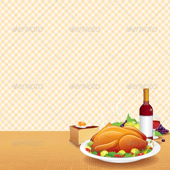 Roasted Turkey on Decorated Table - Food Objects