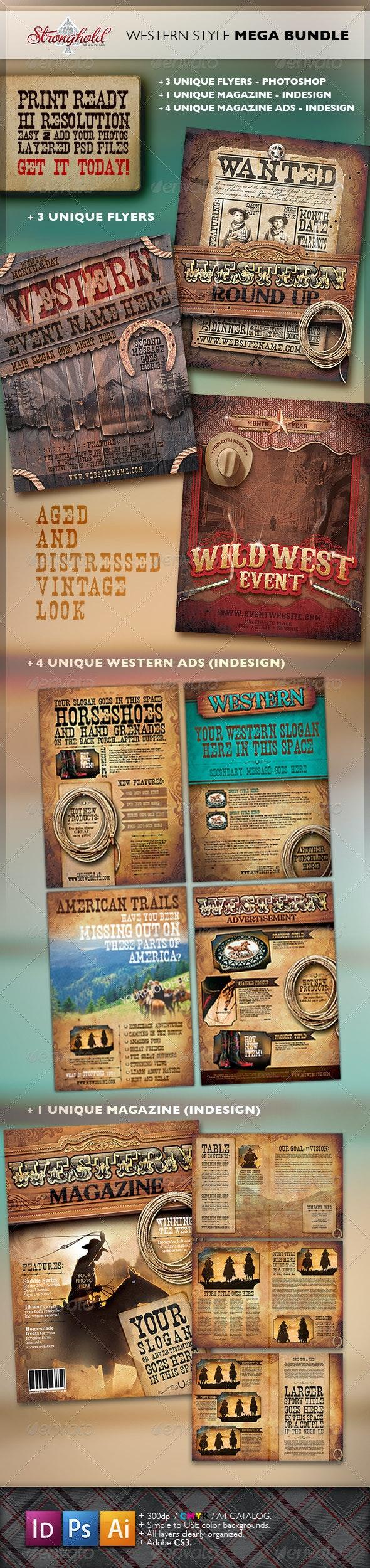 Vintage Western Branding Bundle - Flyers Print Templates