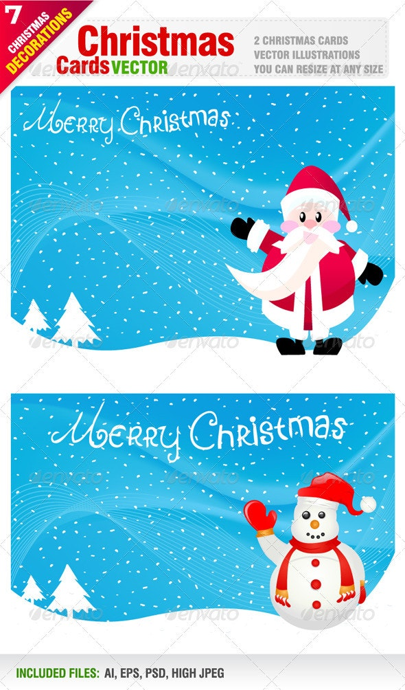2 Christmas Cards - Christmas Seasons/Holidays