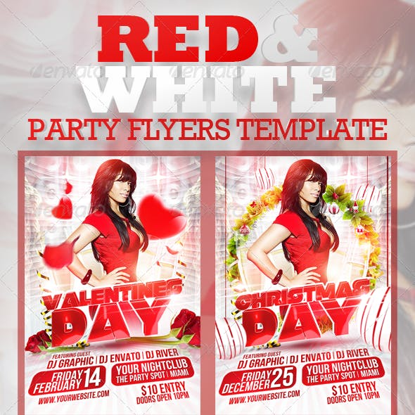 Red and White Party Flyers