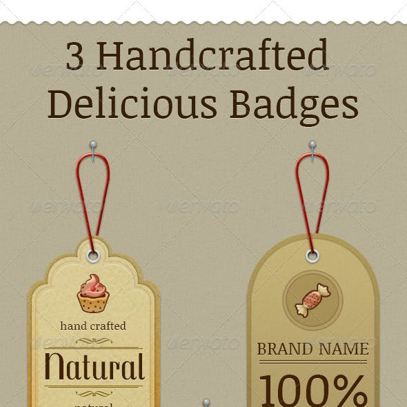 3 Handcrafted Delicious Badges