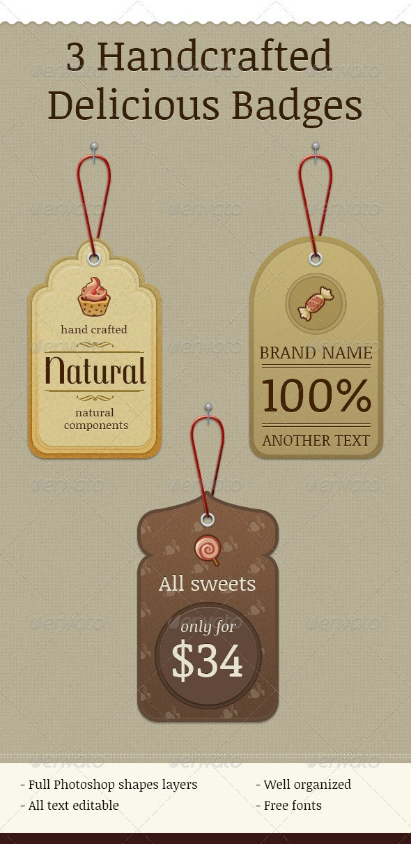 3 Handcrafted Delicious Badges - Badges & Stickers Web Elements