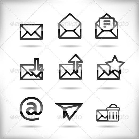 Email Icon Set - Web Elements Vectors