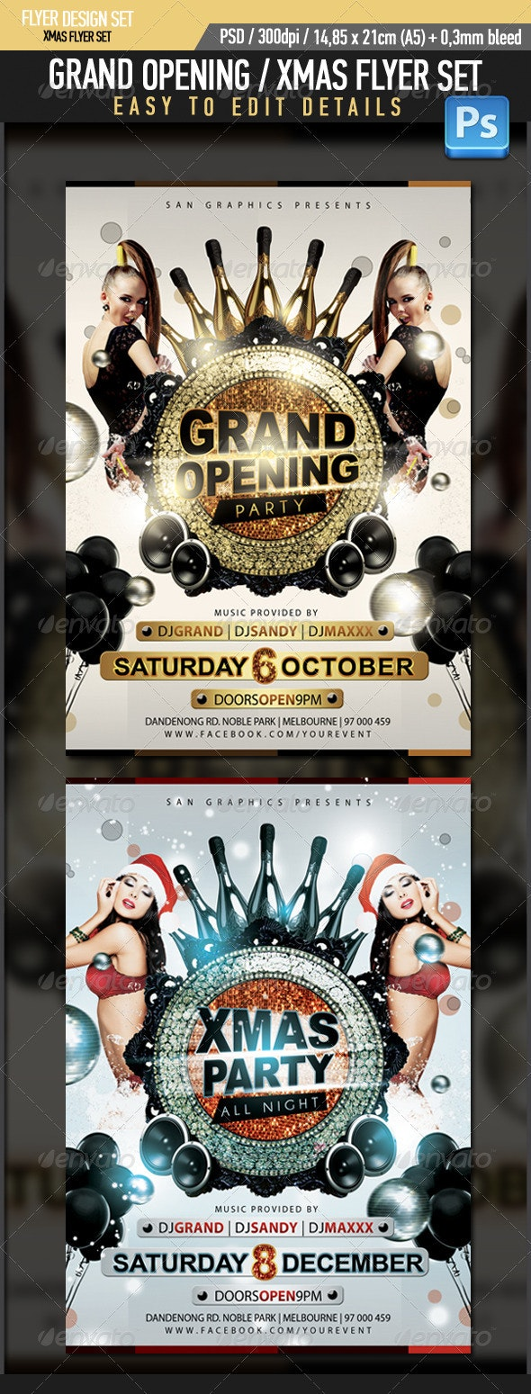 Grand Opening Xmas Flyer Set - Clubs & Parties Events