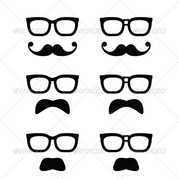 Geek Glasses and Moustache or Mustache Vector Icon