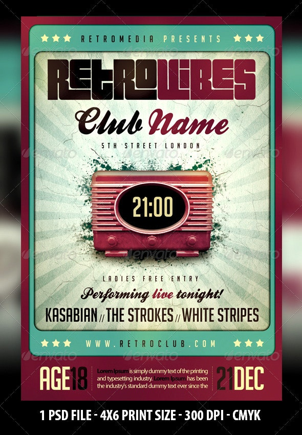 Retro Vibes Flyer - Clubs & Parties Events