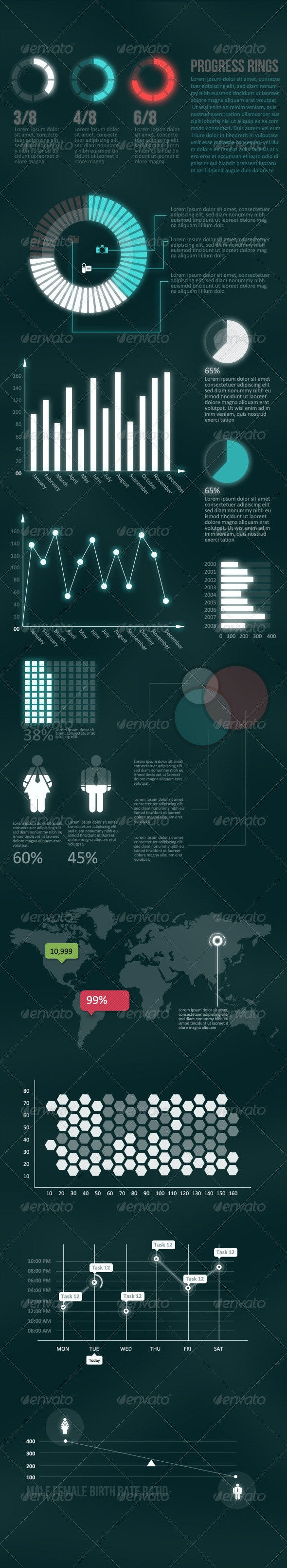 Futuristic  - Infographic Elements Pack - Infographics