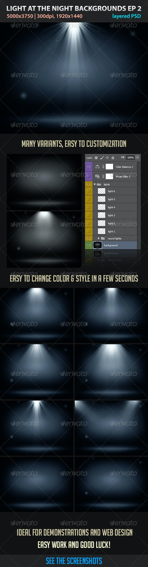 Light at the Night Backgrounds EP2 - Abstract Backgrounds