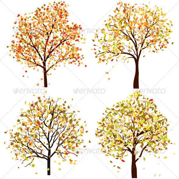 Set of Four Autumn Trees
