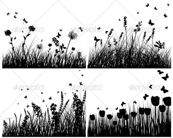 Meadow Silhouette Set - Flowers & Plants Nature