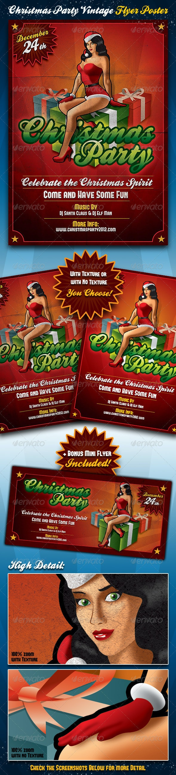 Christmas Party Vintage Flyer & Poster - Holidays Events