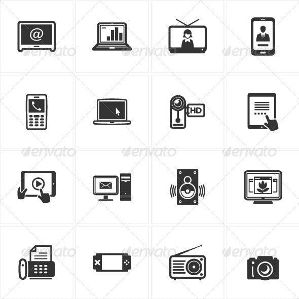 Black Electronics Icons