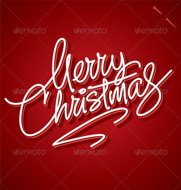 Merry Christmas Hand Lettering (Vector) - Christmas Seasons/Holidays