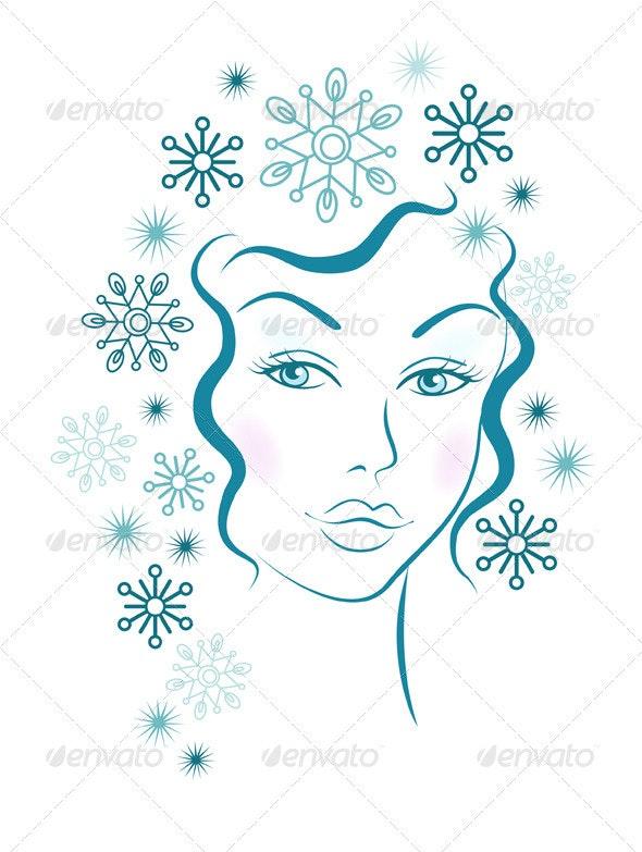 Winter Girl With Blue Snowflakes Hair - Christmas Seasons/Holidays