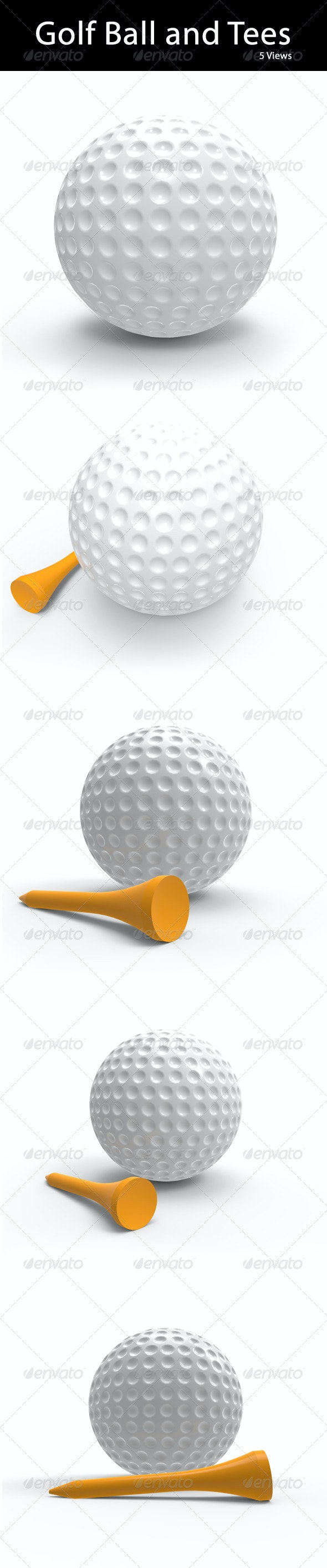 Golf ball and tees - 3D Backgrounds