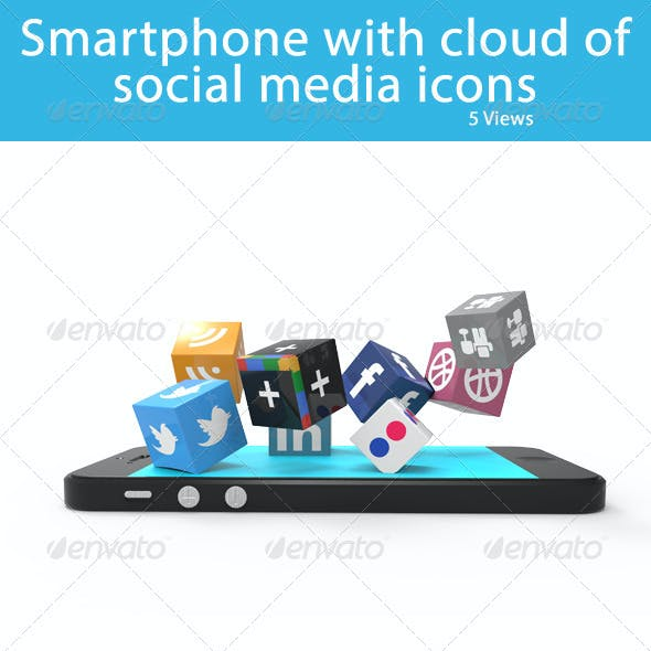 Smartphone with Cloud of Social Media Icons