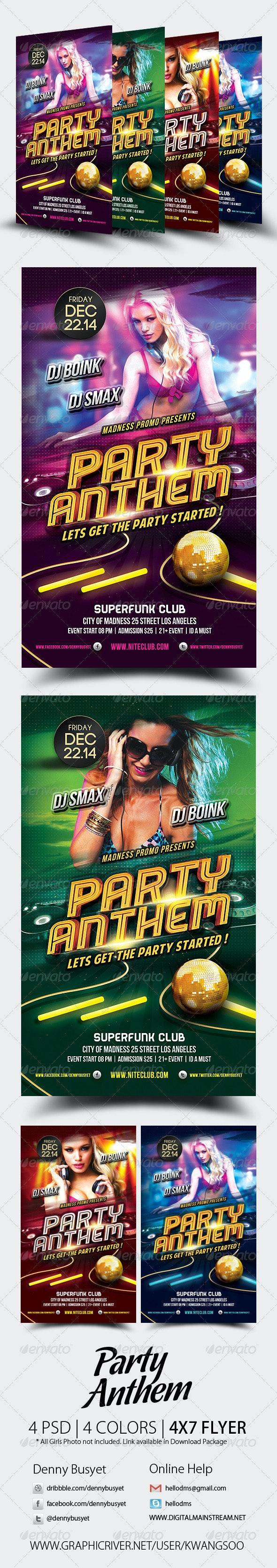 Party Anthem Nightclub Psd Flyer Template - Events Flyers