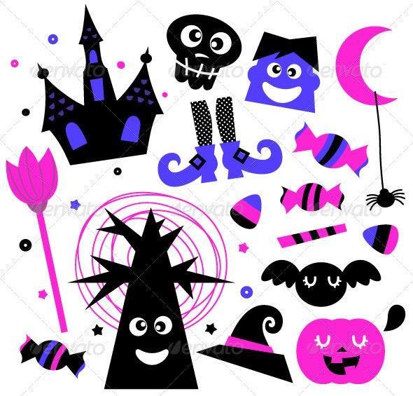 Halloween Elements Set Isolated on White - Halloween Seasons/Holidays