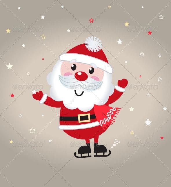 Cute Cartoon Christmas Santa Claus on Snowing Back - Christmas Seasons/Holidays