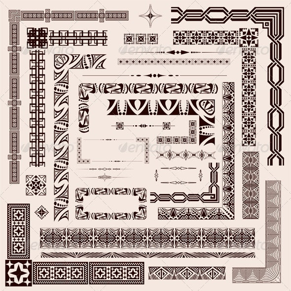 Decorative Border Elements - Characters Vectors