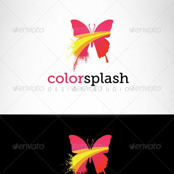 Color Splash Butterfly Creative Logo Template