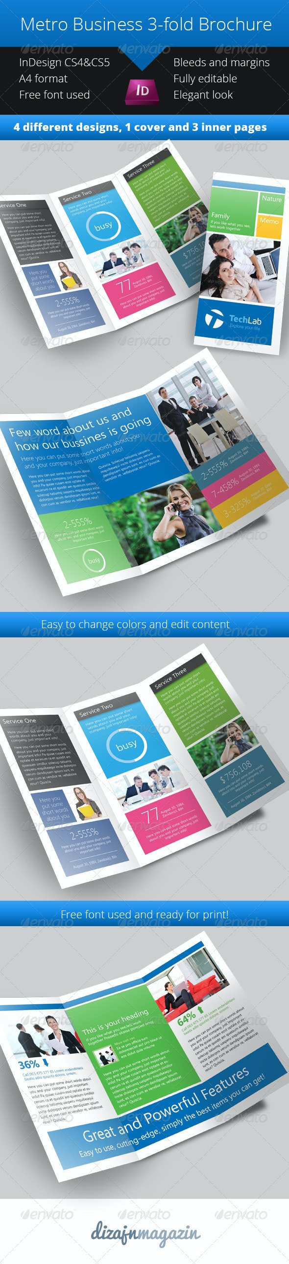 Metro 3-fold Brochure - InDesign Template - Corporate Brochures