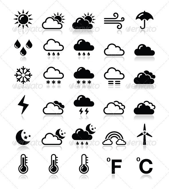 Weather Icons Set - Vector - Seasons Nature