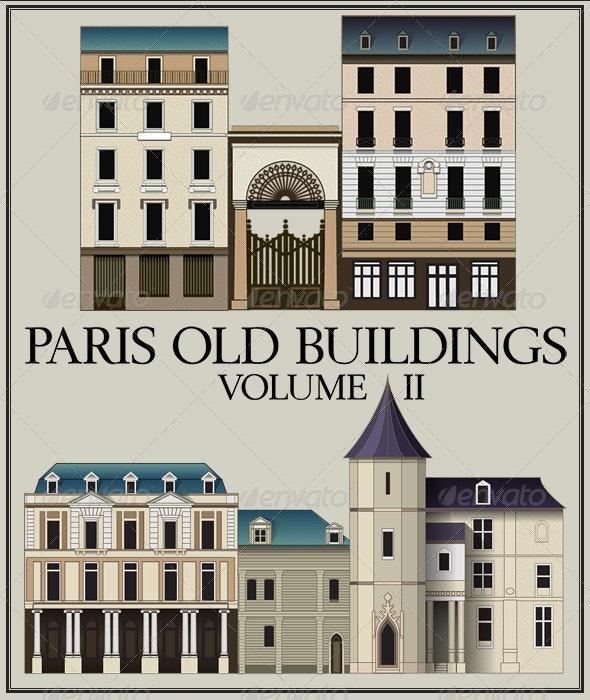 Vector Set: Six Parisian Old Buildings, Vol II - Buildings Objects