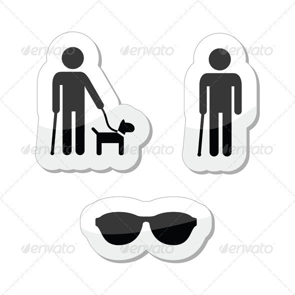 Blind Man Icons Set - with Guide Dog, Walking Stick - Health/Medicine Conceptual