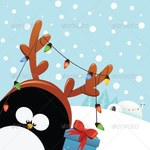 Reindeer Costumed Penguin With Christmas Gift