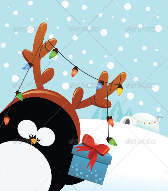 Reindeer Costumed Penguin With Christmas Gift - Animals Characters