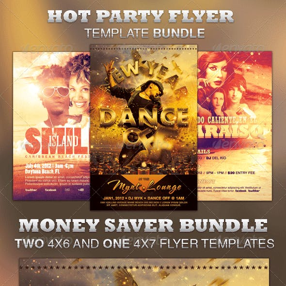Hot Party Flyer Template Bundle