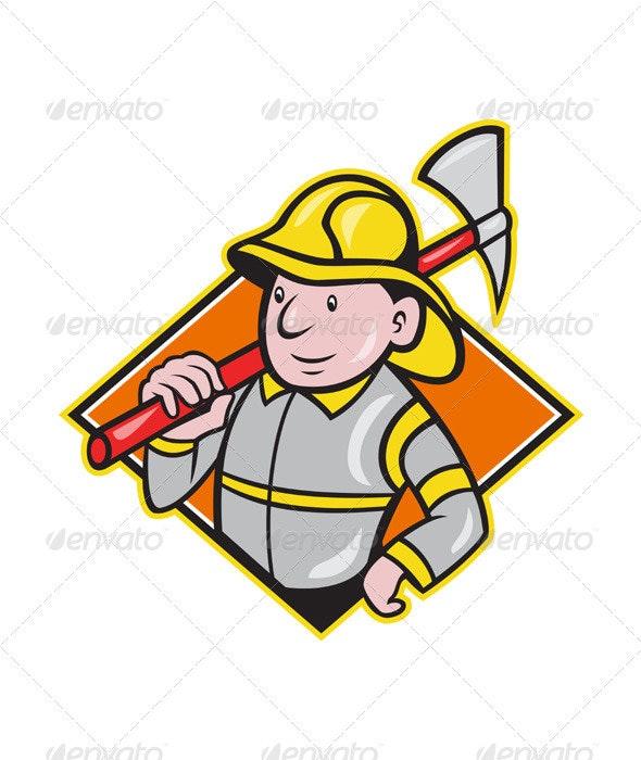Fireman Firefighter Emergency Worker  - People Characters