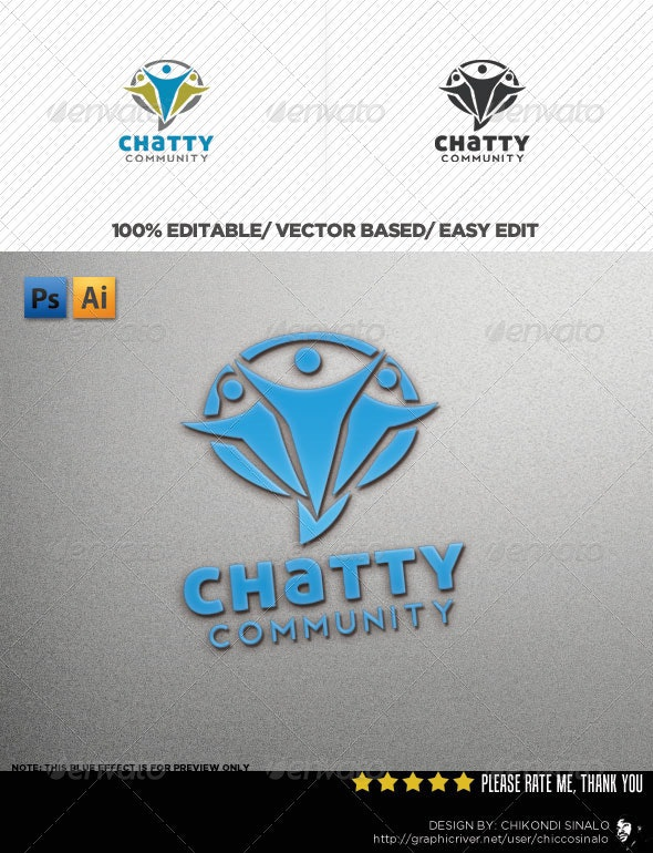 Chatty Community Logo Template - Abstract Logo Templates