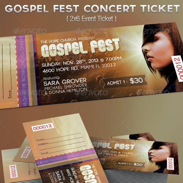 Gospel Fest Concert  Ticket Template