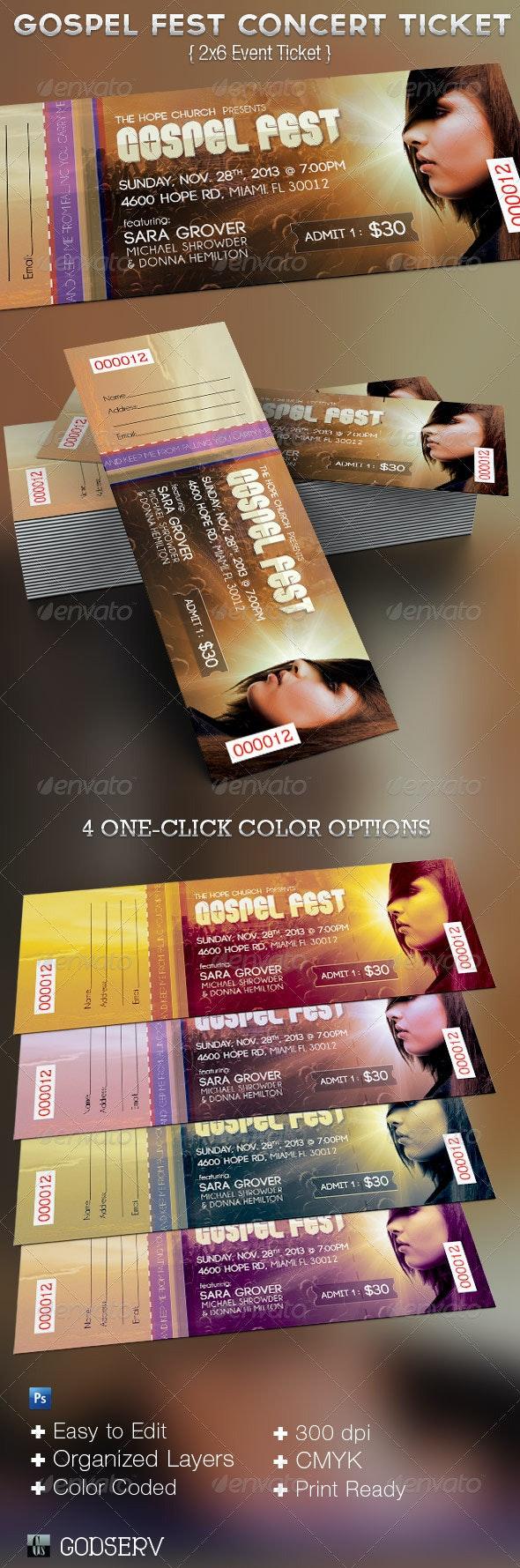 Gospel Fest Concert  Ticket Template  - Miscellaneous Print Templates