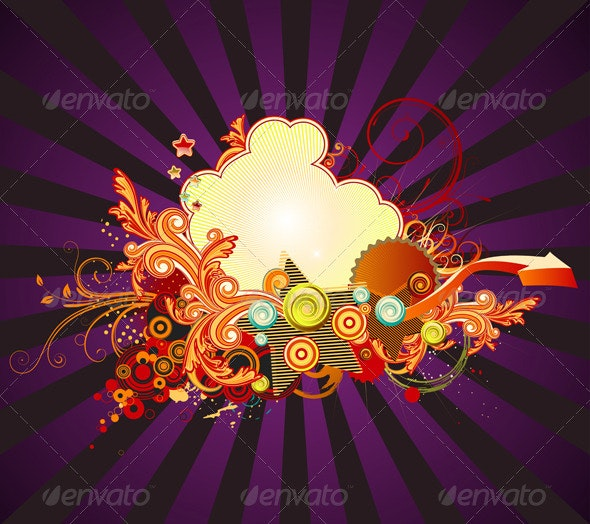 Retro Floral Composition - Decorative Vectors