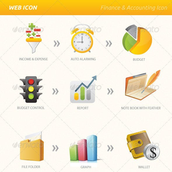 Finance Accounting Vector & PNG Icon Set