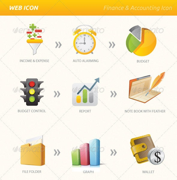 Finance Accounting Vector & PNG Icon Set - Web Icons